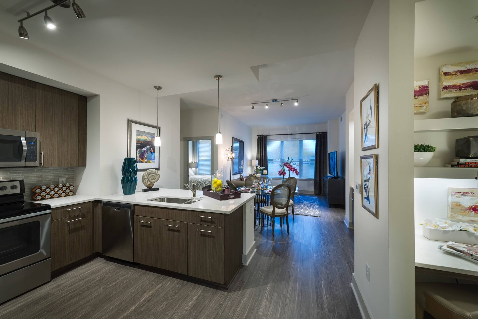 Wood-style flooring in living & dining areas