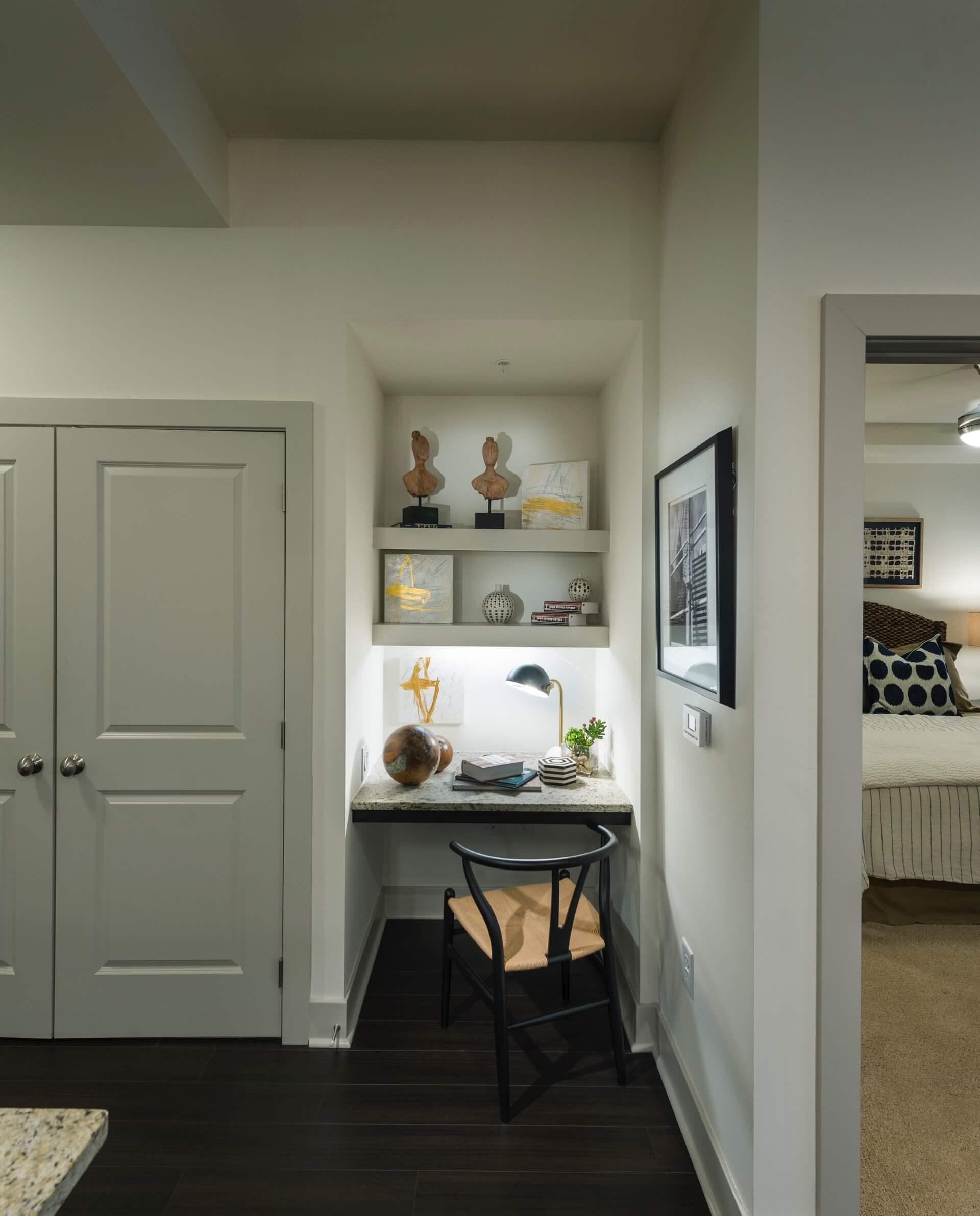 Built-in shelves in select homes
